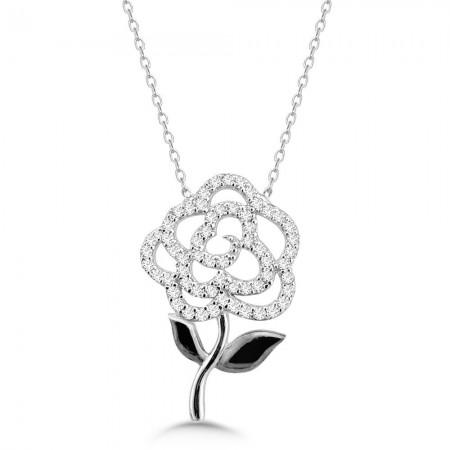 Tesbihane - 925 Ayar Gümüş Zirkon Taşlı Çiçek Kolye