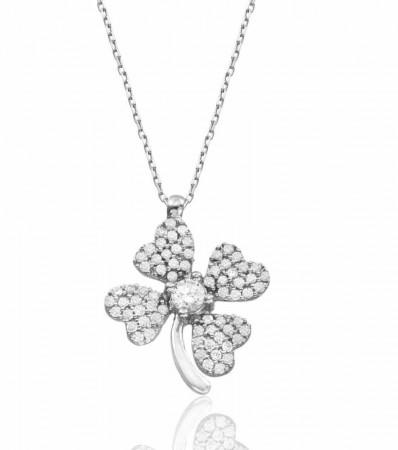 - 925 Ayar Gümüş Zirkon Taşlı Çiçek Model Kolye