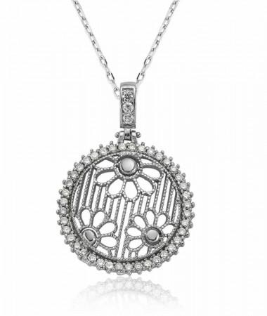 Tesbihane - 925 Ayar Gümüş Zirkon Taşlı Çiçek Model Kolye