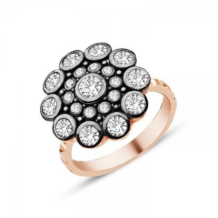 - 925 Ayar Gümüş Zirkon Taşlı Çiçek Model Yüzük