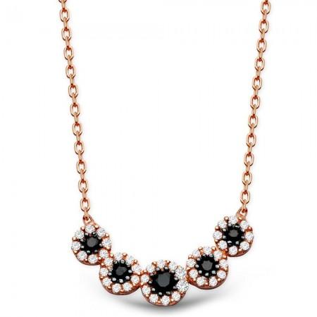 - 925 Ayar Gümüş Zirkon Taşlı Çiçek Tasarım Kolye