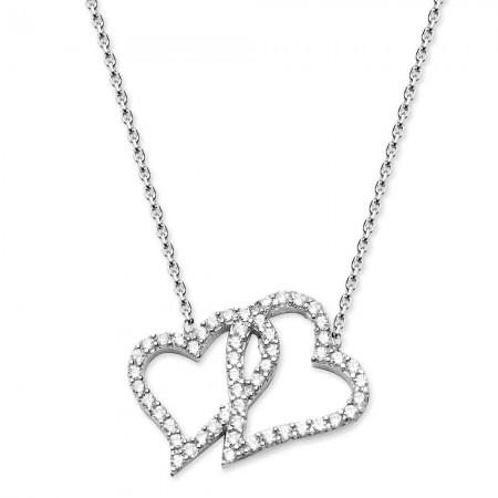 - 925 Ayar Gümüş Zirkon Taşlı Çift Kalp Kolye