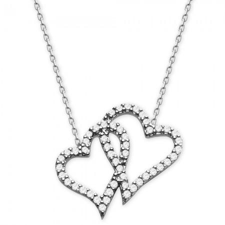 - 925 Ayar Gümüş Zirkon Taşlı Çift Kalp Kolye (Model -2)