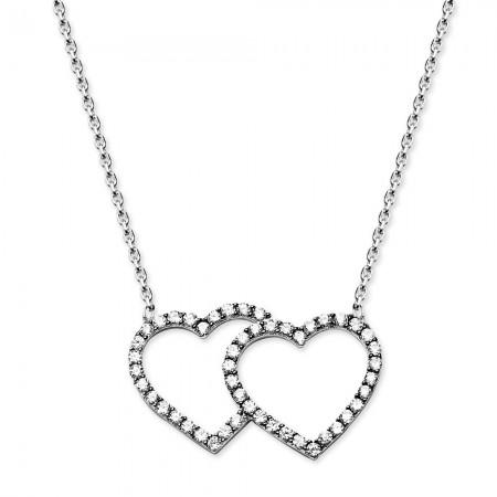 - 925 Ayar Gümüş Zirkon Taşlı Çift Kalp Kolye (M-2)