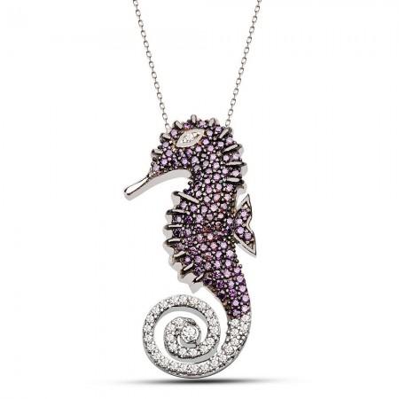 Tesbihane - 925 Ayar Gümüş Zirkon Taşlı Deniz Atı Kolye