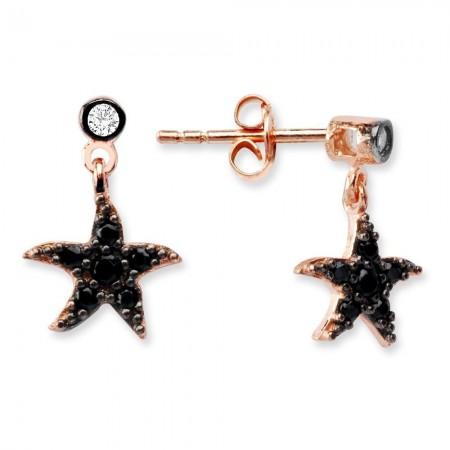 Tesbihane - 925 Ayar Gümüş Zirkon Taşlı Deniz Yıldızı Küpe