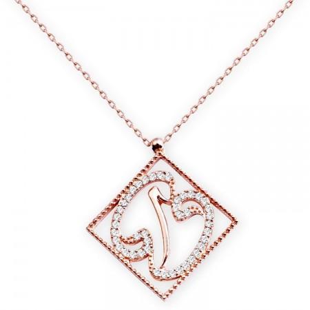 - 925 Ayar Gümüş Zirkon Taşlı Elifli Vav Model Kolye