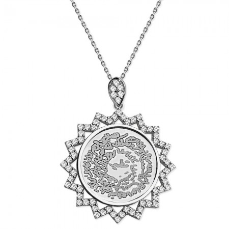 Tesbihane - 925 Ayar Gümüş Zirkon Taşlı Estetik Kolye