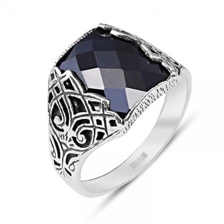 925 Ayar Gümüş Zirkon Taşlı Geleneksel Motif Yüzük - Thumbnail