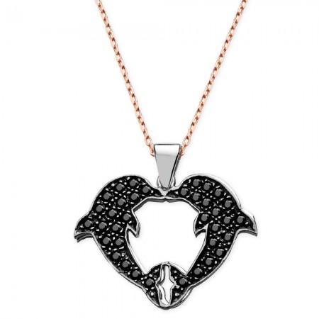 Tesbihane - 925 Ayar Gümüş Zirkon Taşlı Gölgeli Yunus Tasarım Kolye