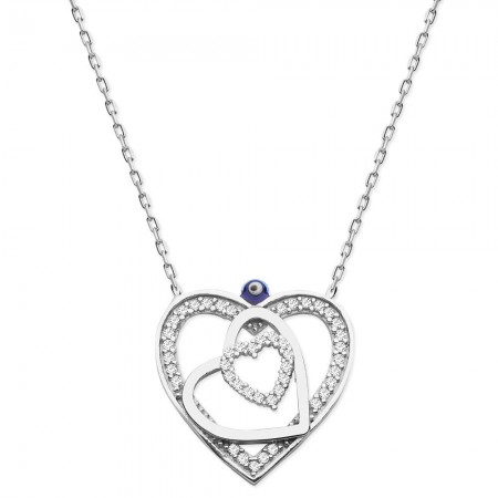 Tesbihane - 925 Ayar Gümüş Zirkon Taşlı İç İçe Kalp Kolye