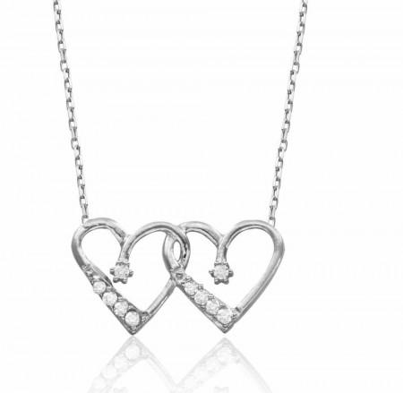 Tesbihane - 925 Ayar Gümüş Zirkon Taşlı Kalbim Kalbinde Kolye