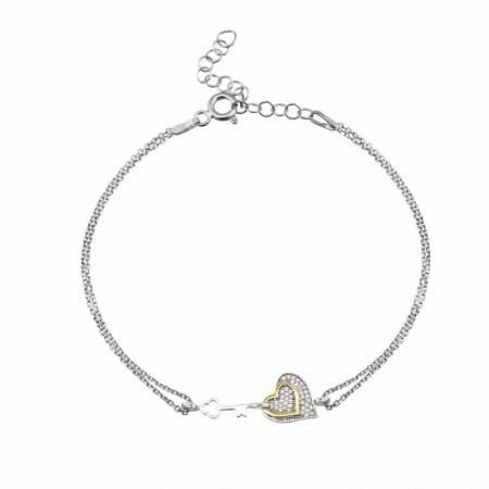- 925 Ayar Gümüş Zirkon Taşlı Kalbimin Anahtarı Bileklik