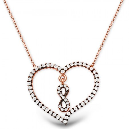 Tesbihane - 925 Ayar Gümüş Zirkon Taşlı Kalp İçide Sonsuzluk Kolyesi