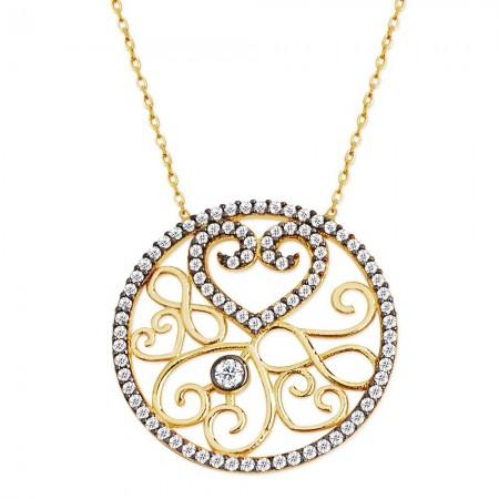 Tesbihane - 925 Ayar Gümüş Zirkon Taşlı Kalp Kolye