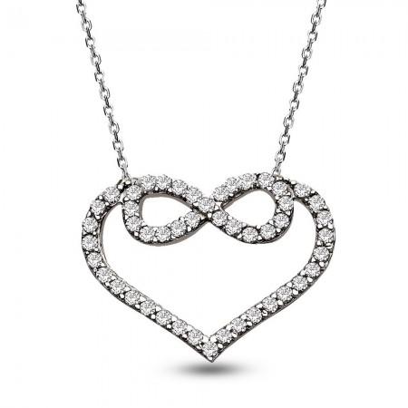 - 925 Ayar Gümüş Zirkon Taşlı Kalp Kolye