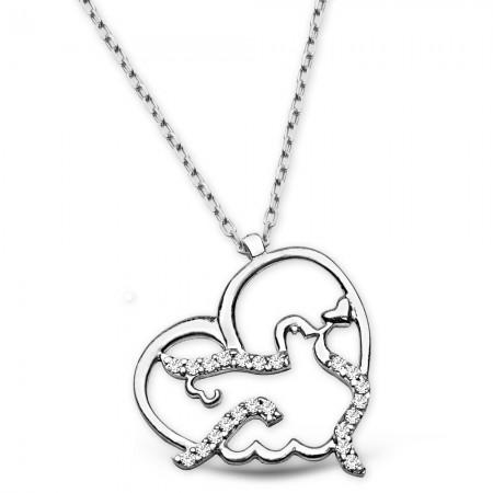 - 925 Ayar Gümüş Zirkon Taşlı Kalp Kuş Tasarım Kolye