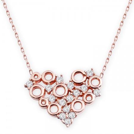- 925 Ayar Gümüş Zirkon Taşlı Kalp Model Kolye