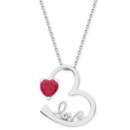 - 925 Ayar Gümüş Zirkon Taşlı Kalp Sonsuzluk Love Kolye