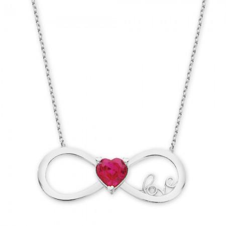 Tesbihane - 925 Ayar Gümüş Zirkon Taşlı Kalp Sonsuzluk Love Kolye (M-2)