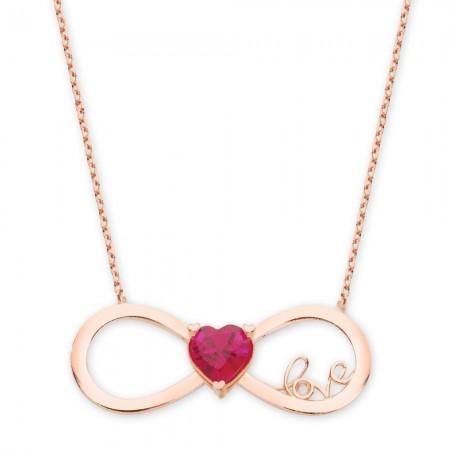 - 925 Ayar Gümüş Zirkon Taşlı Kalp Sonsuzluk Love Rose Kolye