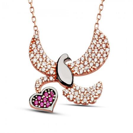 Tesbihane - 925 Ayar Gümüş Zirkon Taşlı Kalp ve Kuş Tasarım Kolye