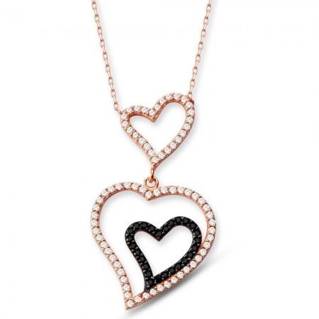 Tesbihane - 925 Ayar Gümüş Zirkon Taşlı Kalpler Kolye