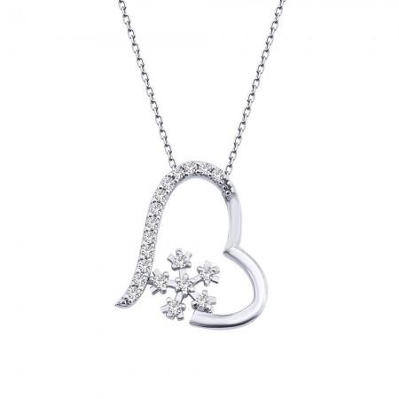 - 925 Ayar Gümüş Zirkon Taşlı Kalpli Kar Tanesi Kolye (Model-2)