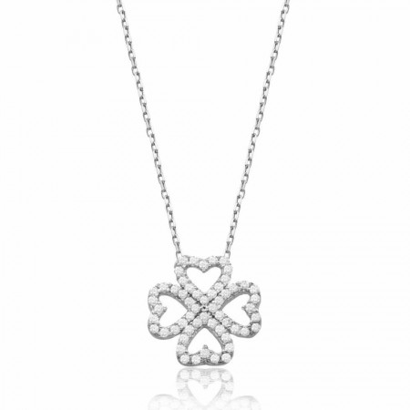 - 925 Ayar Gümüş Zirkon Taşlı Kalpten Çiçek Kolye