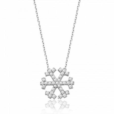 Tesbihane - 925 Ayar Gümüş Zirkon Taşlı Kar Kolye