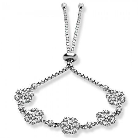 - 925 Ayar Gümüş Zirkon Taşlı Kar Model Bileklik