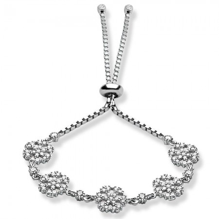 Tesbihane - 925 Ayar Gümüş Zirkon Taşlı Kar Model Bileklik