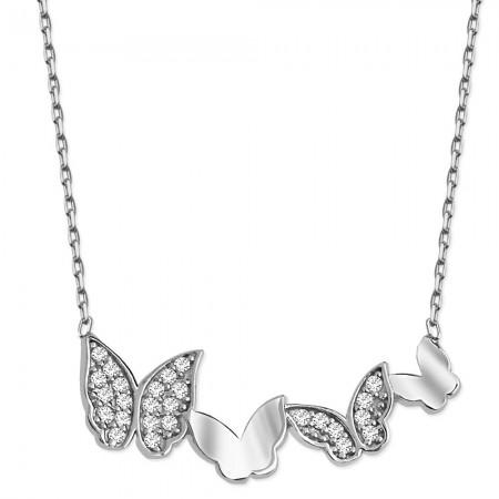 Tesbihane - 925 Ayar Gümüş Zirkon Taşlı Kelebek Kolye