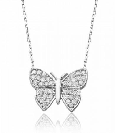 - 925 Ayar Gümüş Zirkon Taşlı Kelebek Kolye