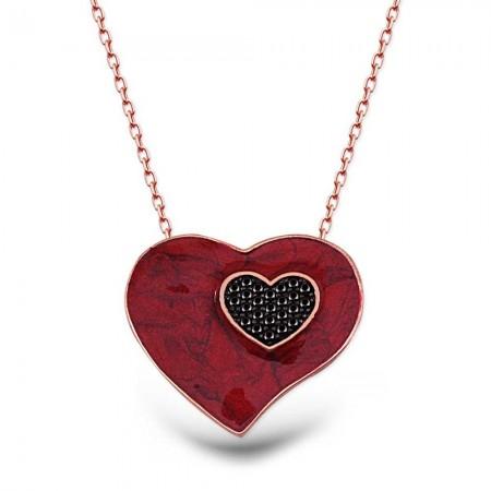 Tesbihane - 925 Ayar Gümüş Zirkon Taşlı Kırmızı Kalp Kolye