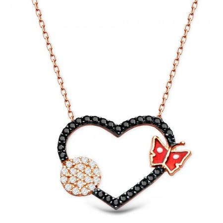 - 925 Ayar Gümüş Zirkon Taşlı Kırmızı Kelebek Model Kalp Kolye