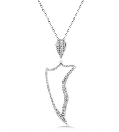 Tesbihane - 925 Ayar Gümüş Zirkon Taşlı Kolye (M-28)