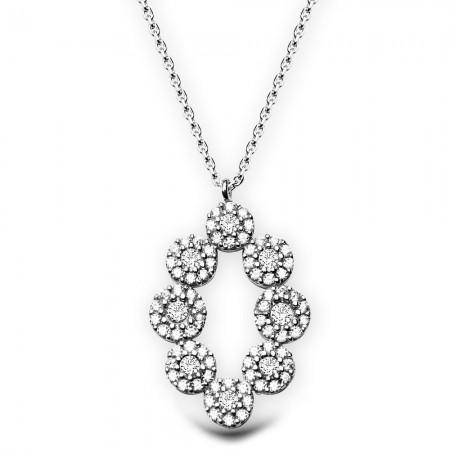 Tesbihane - 925 Ayar Gümüş Zirkon Taşlı Kolye (M-36)