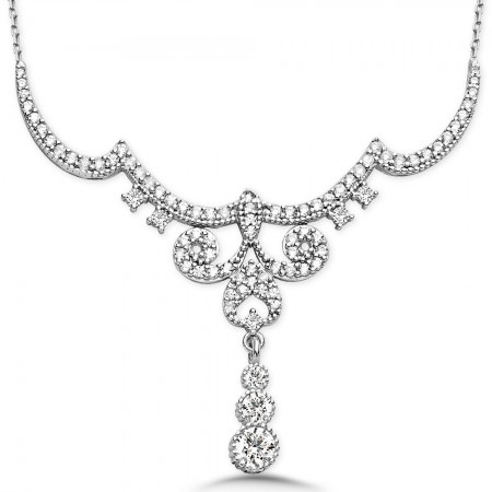 - 925 Ayar Gümüş Zirkon Taşlı Kraliçe Gerdanlık