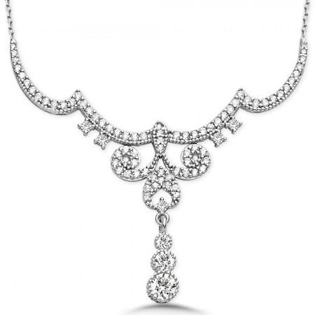 Tesbihane - 925 Ayar Gümüş Zirkon Taşlı Kraliçe Gerdanlık