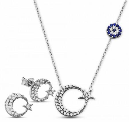 Tesbihane - 925 Ayar Gümüş Zirkon Taşlı Küpe Ve Ayyıldız Kolye Kombini