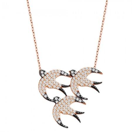 Tesbihane - 925 Ayar Gümüş Zirkon Taşlı Kuş Kolye