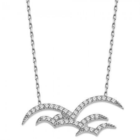 Tesbihane - 925 Ayar Gümüş Zirkon Taşlı Kuş Sürüsü Kolye
