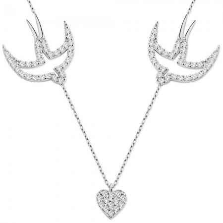 Tesbihane - 925 Ayar Gümüş Zirkon Taşlı Kuşlu Kalp Kolye