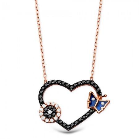 Tesbihane - 925 Ayar Gümüş Zirkon Taşlı Mavi Kelebek Model Kalp Kolye