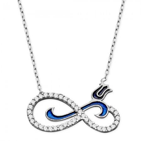 Tesbihane - 925 Ayar Gümüş Zirkon Taşlı Mavi Lale Model Sonsuzluk Kolye