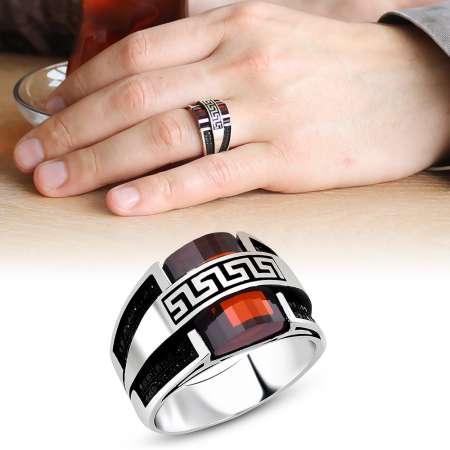 Tesbihane - Kırmızı Zirkon Taşlı 925 Ayar Gümüş Menderes Yüzüğü