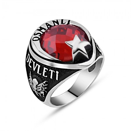 Tesbihane - Arma İşlemeli Ayyıldız Tasarım Kırmızı Zirkon Taşlı 925 Ayar Gümüş Yüzük
