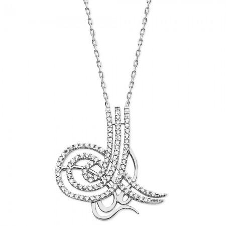 - 925 Ayar Gümüş Zirkon Taşlı Özel Model Tuğra Kolye