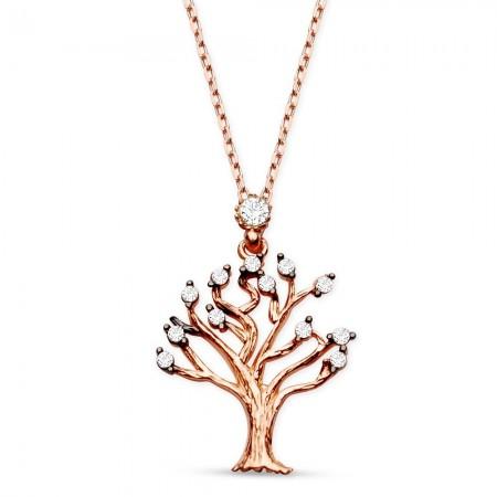 Tesbihane - 925 Ayar Gümüş Zirkon Taşlı Rose Hayat Ağacı Kolye